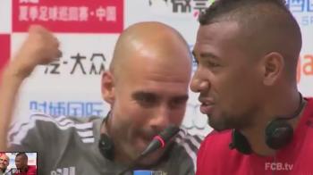 VIDEO: Momentul in care Guardiola ii da un pumn lui Boateng in timpul conferintei de presa :) Ce gluma a facut fundasul