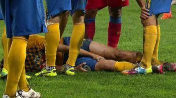 Gazonul de la Ploiesti a facut victime! Un jucator de la Petrolul s-a accidentat grav din cauza terenului! FOTO