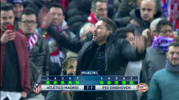 "Primul antrenor din istoria Champions League care a ""BATUT"" un penalty! Moment incredibil cu Simeone in Atletico - PSV. VIDEO"