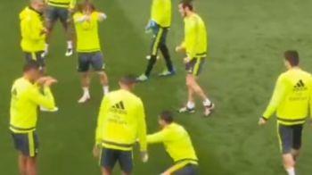 """DIVER! DIVER!"" Faza zilei la antrenamentul Realului! Cristiano Ronaldo a cerut fault, toti colegii l-au acuzat ca SIMULEAZA :))"
