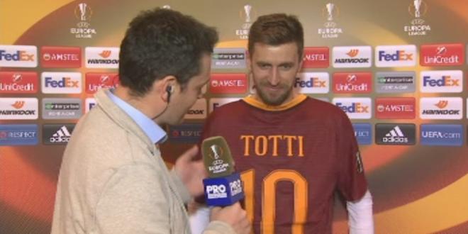 Lovin a batut recordul la 100m la finalul meciului si a luat tricoul lui Totti:  Il pun langa al lui Beckham si Messi . Ce a spus despre calificarea in primavara la ultimul sau sezon