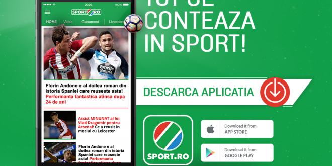 O noua experienta in tribuna de peste 1 milion de oameni! DESCARCA GRATUIT noua aplicatie Sport.ro! Bucurati-va de fotbal!
