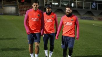"""""""S-au intors regii"""". Messi, Suarez si Neymar au revenit la antrenamentele Barcei. Primul meci e joi, cu Bilbao"""