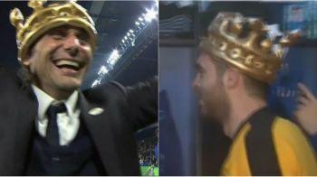 Moment genial: coroana lui Chitu a ajuns la Conte :) Antrenorul lui Chelsea a primit coroana de campion de la un fan. FOTO & VIDEO